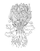 Hand drawn Ornamental Tattoo Plant.