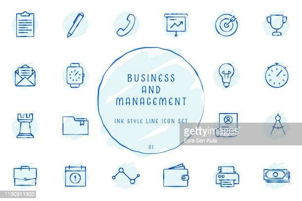 hand drawn outlined inked sketchy business and management icon collection - printer stock illustrations, clip art, cartoons, & icons