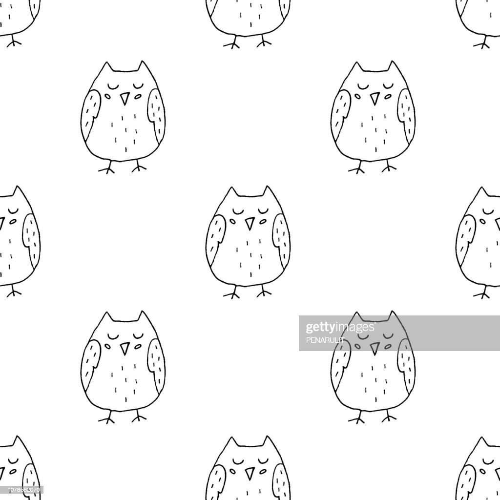 Hand Drawn Owl Vector Seamless Pattern