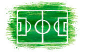 hand drawn paintbrush soccer field or football field of green watercolor brush stroke painting isolated on white