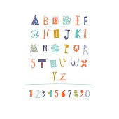 Hand Drawn paper cut out alphabet in vector.