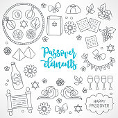 Hand drawn Passover design elements