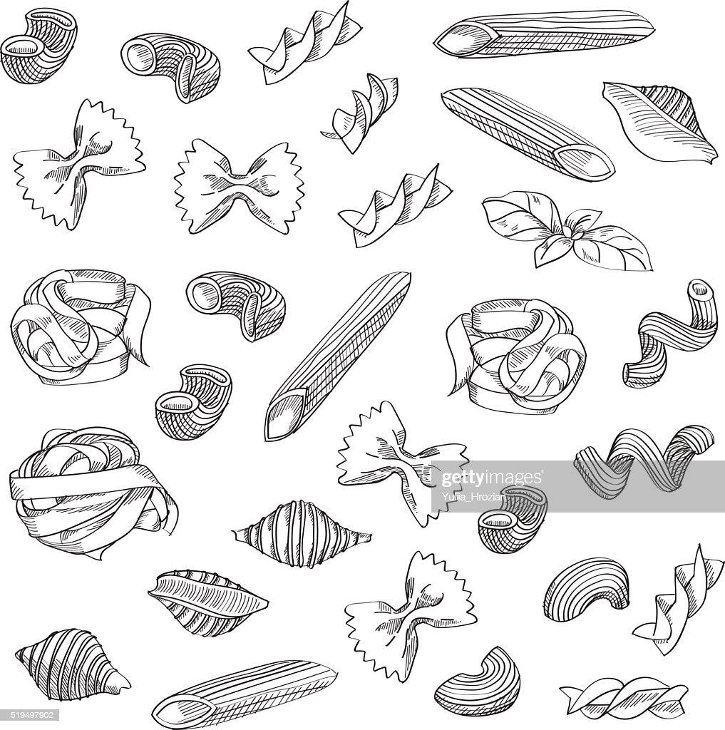 Hand drawn pasta sketch background