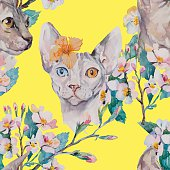 Hand drawn pattern Elegant Sphynx cat and tropical flower. Fashion