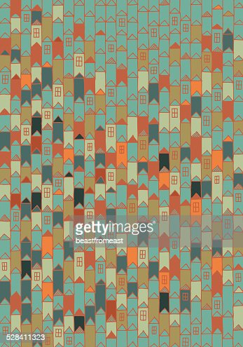 Hand drawn pattern of houses