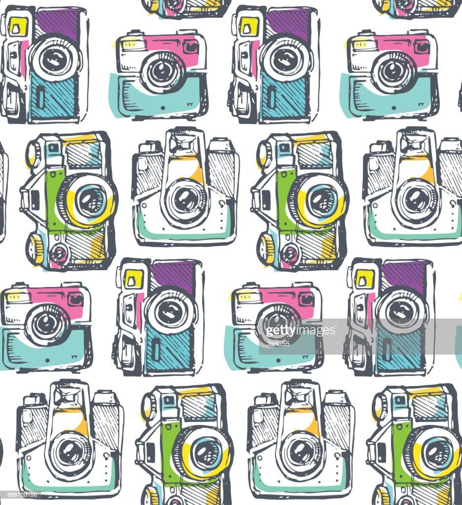 Hand drawn pattern retro camera. Take a good shot!