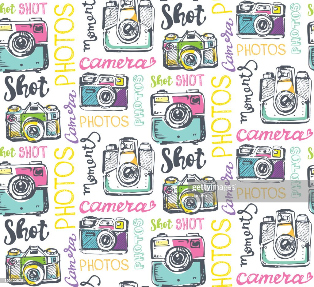 Hand drawn pattern retro camera. Take a good shot!