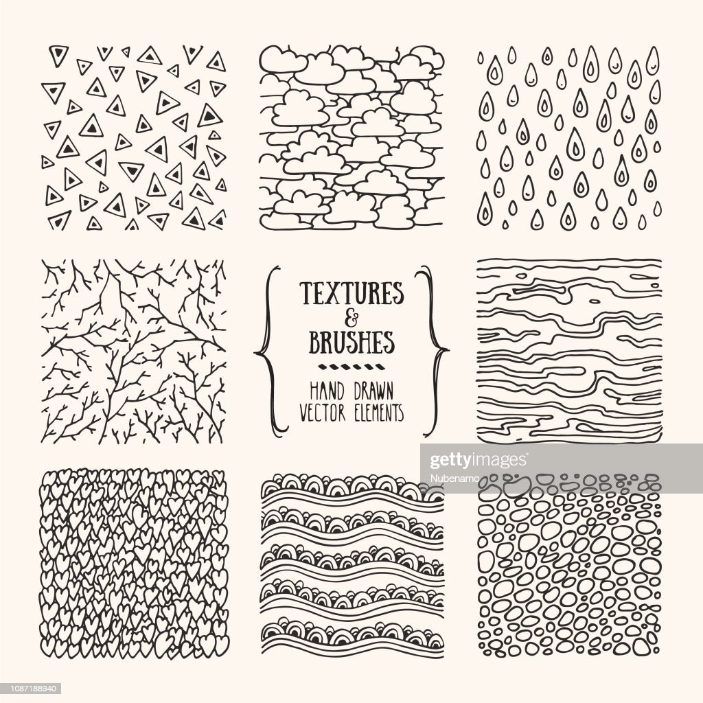 Hand drawn patterns, abstract textures, brush strokes. Poster, Flyer design templates. Vector clipart illustrations isolated on white background.