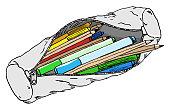 vector illustration hand drawn pencil case