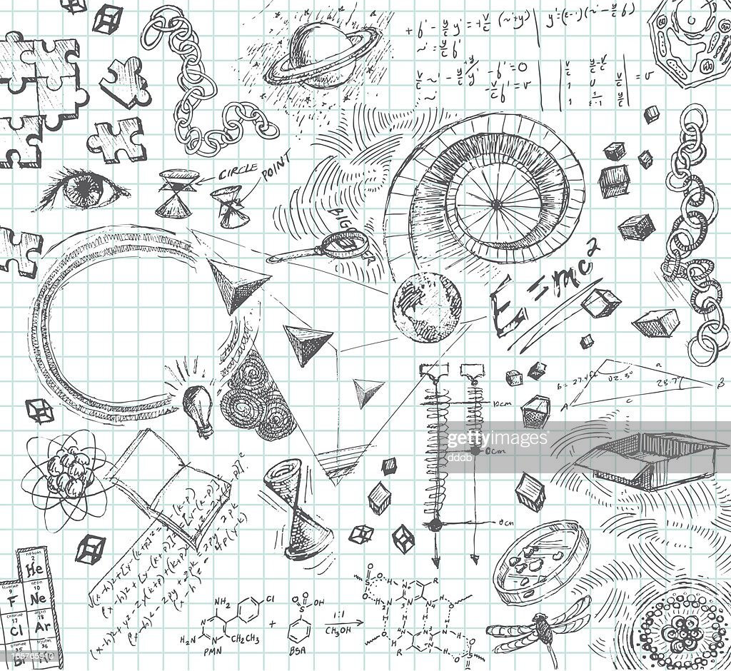Hand drawn pencil sketches of scientific concepts