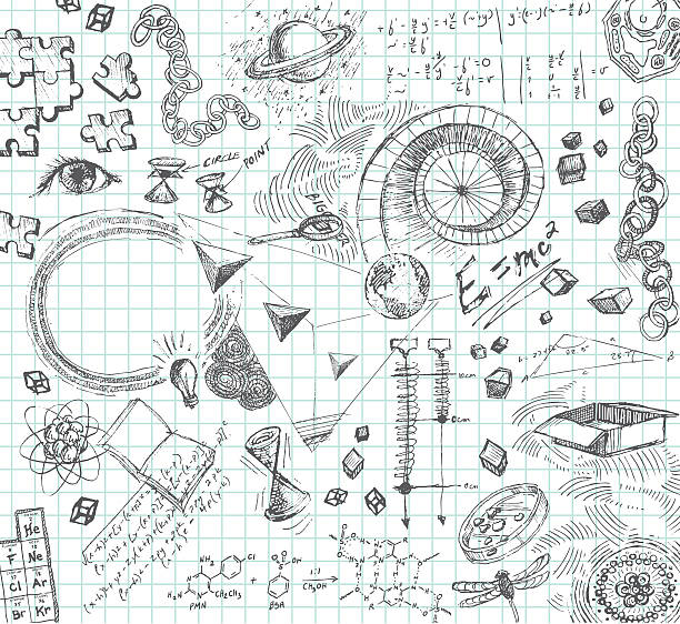 hand drawn pencil sketches of scientific concepts - pencil drawing stock illustrations