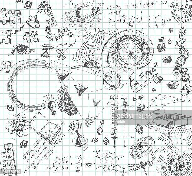 hand drawn pencil sketches of scientific concepts - physics stock illustrations