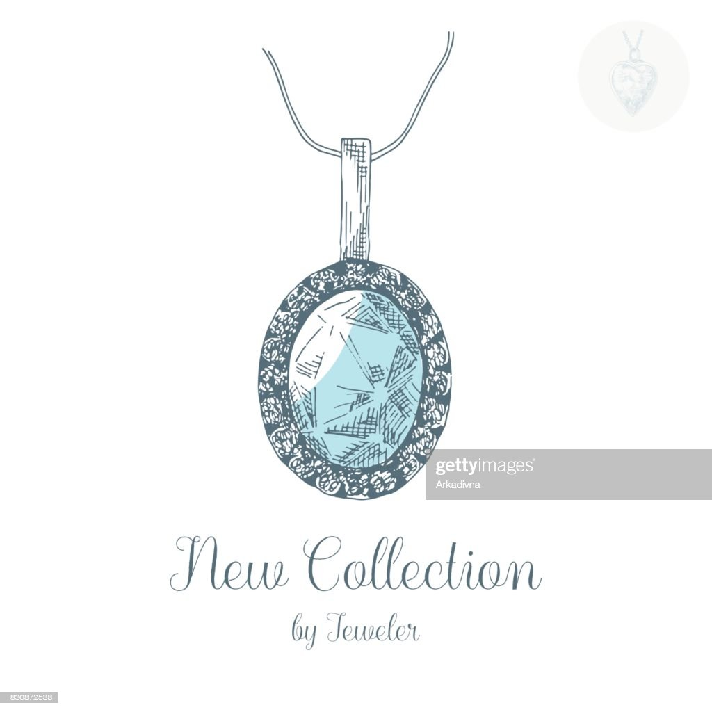 Hand drawn pendant on a chain. Vector illustration of a sketch style.