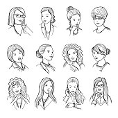 Hand drawn peoples with funny smiling faces and different emotions on it