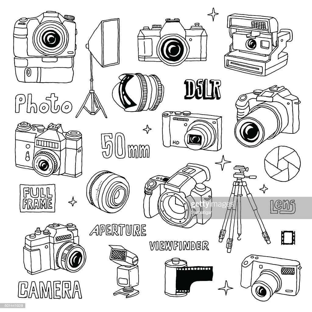 Hand drawn photo cameras set 1. Vector illustration.