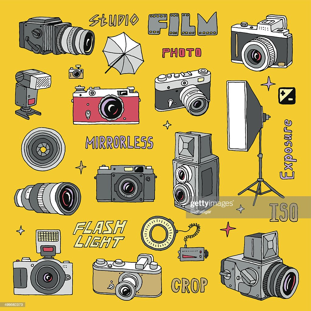 Hand drawn photo cameras set 2. Vector illustration. Colorful.