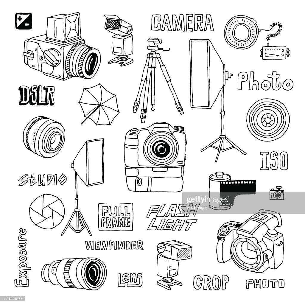 Hand drawn photo studio set. Vector illustration.