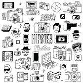 Hand drawn photographic doodles set. Vector illustration.