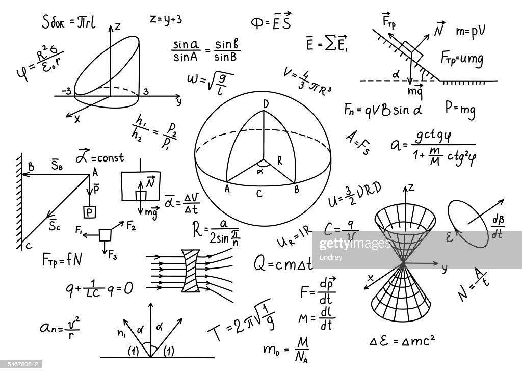 Hand drawn physics formulas Science knowledge education.