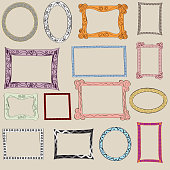 Hand drawn picture frame vector collection.
