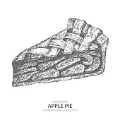 Hand drawn piece of apple pie with ink and pen. Vintage black and white illustration. Sweet and dessert vector element.