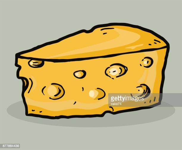 hand drawn piece of cheese - cheddar cheese stock illustrations, clip art, cartoons, & icons