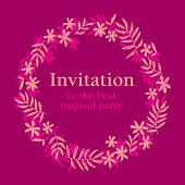hand drawn pink tropical floral template