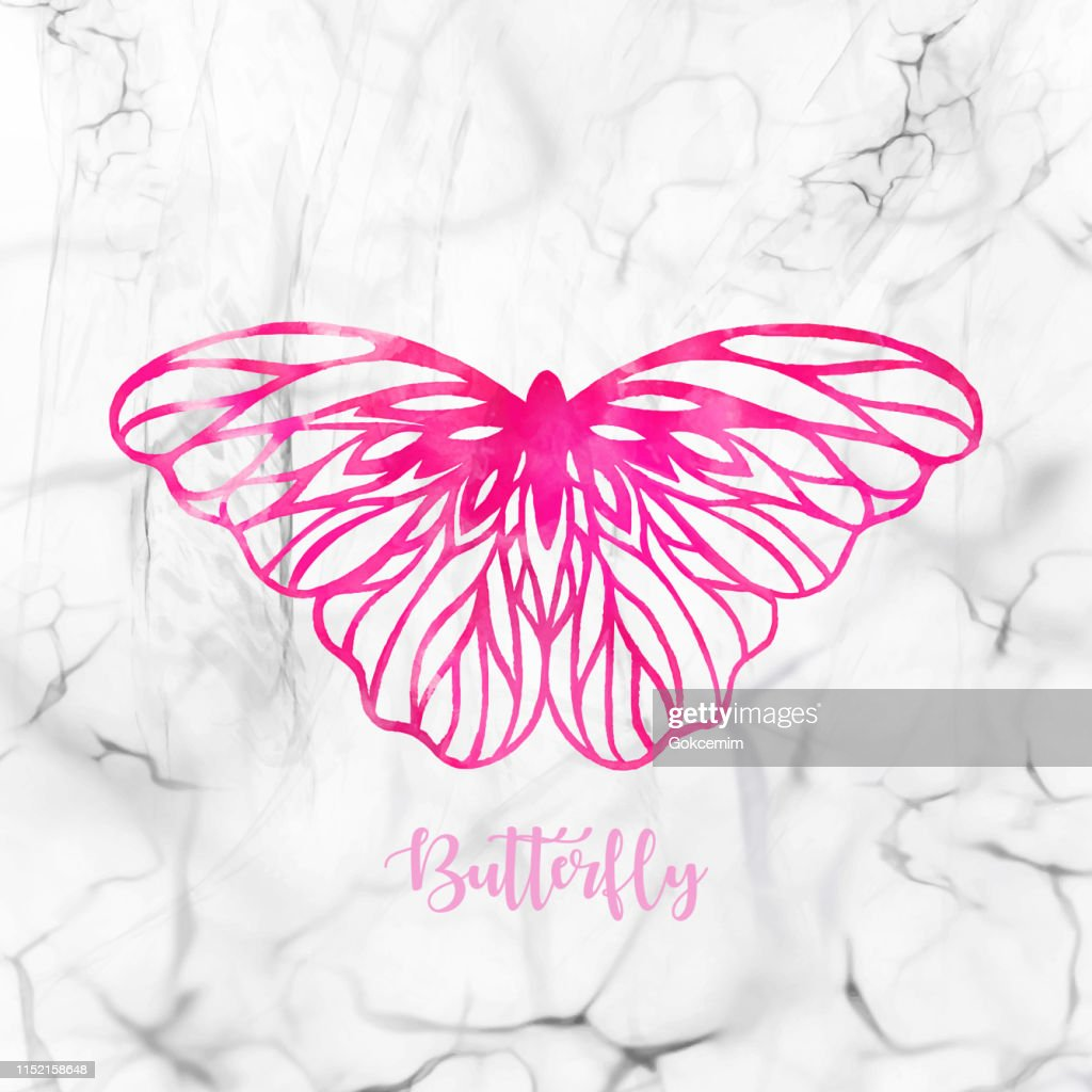 Hand Drawn Pink Watercolor Butterfly With White Marble Background Design Element Greeting Card High Res Vector Graphic Getty Images