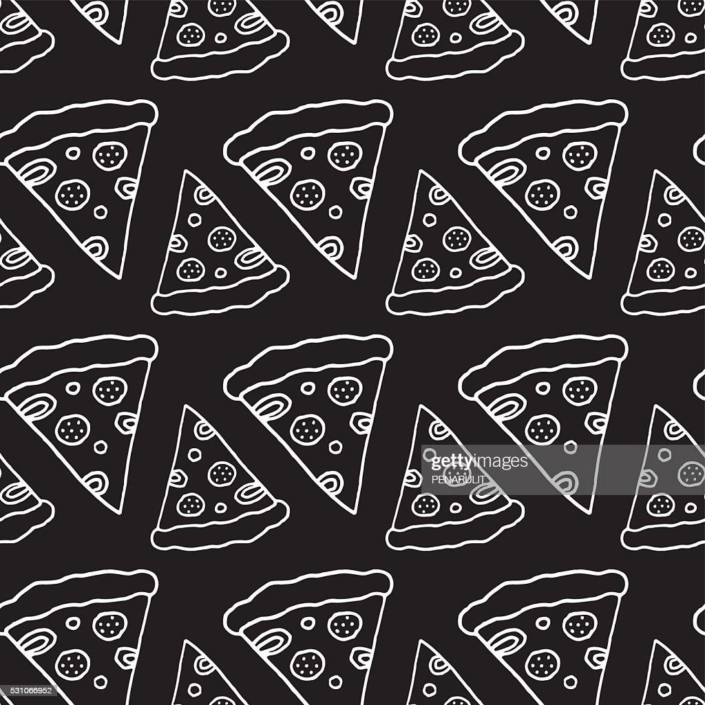 Hand Drawn Pizza Seamless Pattern