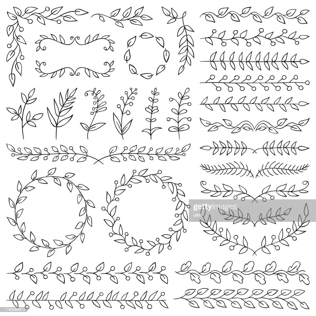 Hand drawn plants, dividers, wreaths, border frames : stock illustration
