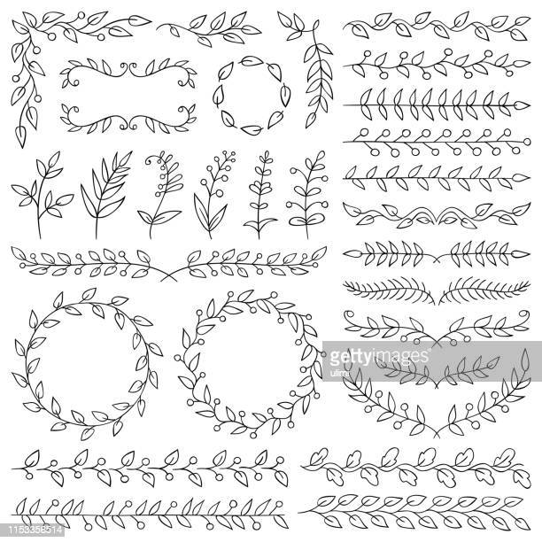 hand drawn plants, dividers, wreaths, border frames - line art stock illustrations