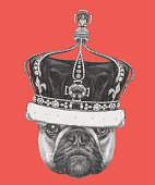 Hand drawn portrait of French Bulldog with crown.