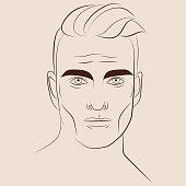 Hand drawn portrait of handsome man