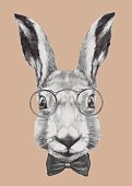 Hand drawn portrait of Rabbit with glasses and bow tie.