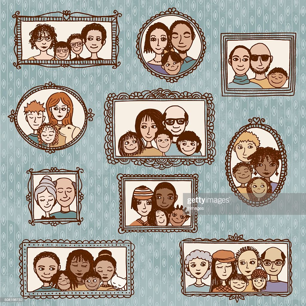 Hand drawn portraits of diverse families