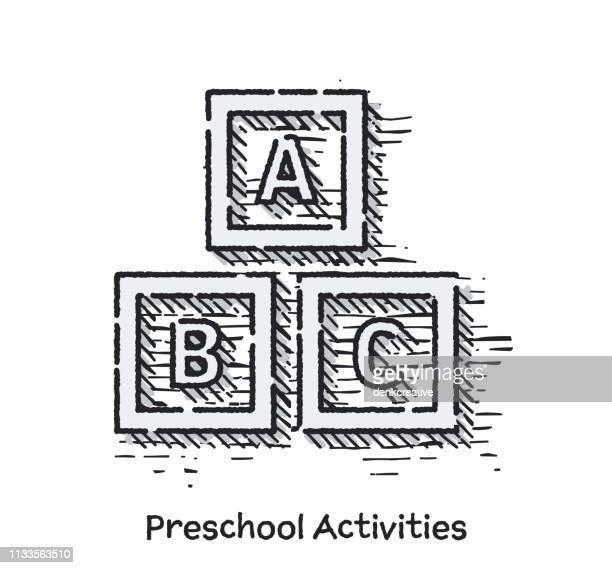 illustrations, cliparts, dessins animés et icônes de l'icône de ligne esquisse d'activités préscolaires dessiné à la main pour le web - inachevé
