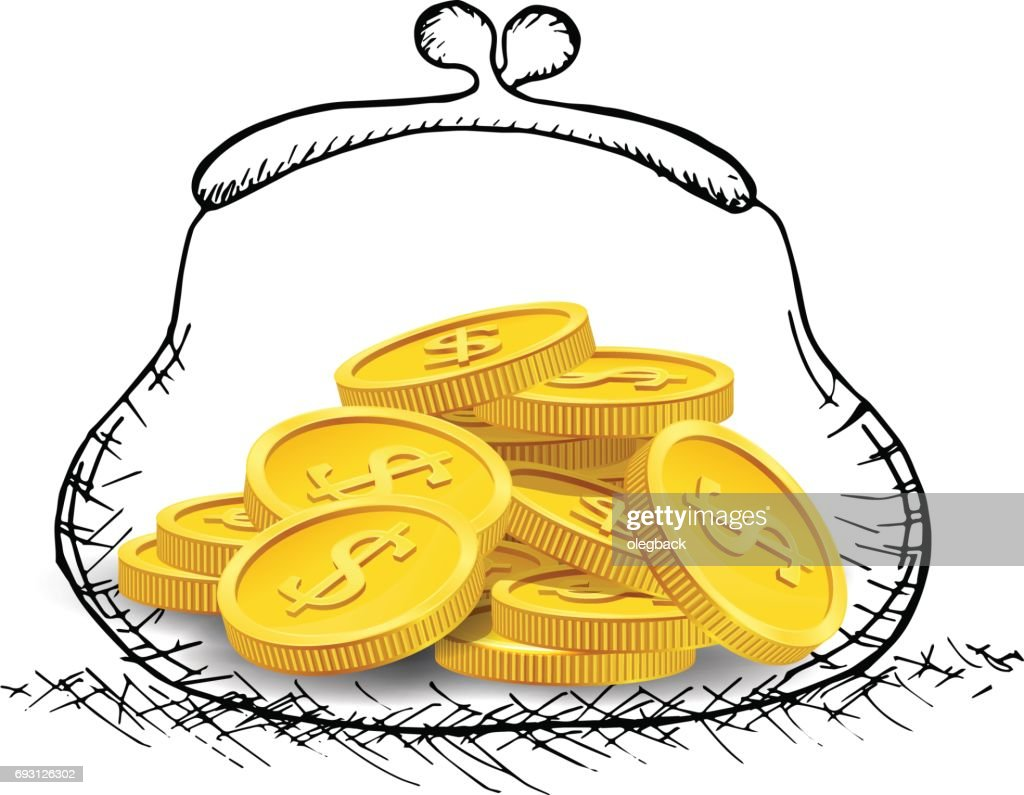Hand drawn purse with golden coins. Vector illustration.