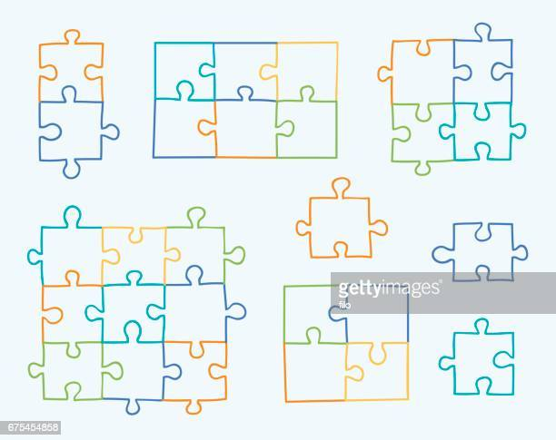 hand drawn puzzles - jigsaw piece stock illustrations, clip art, cartoons, & icons