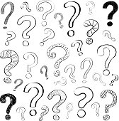 Hand drawn question marks on white background. Vector.