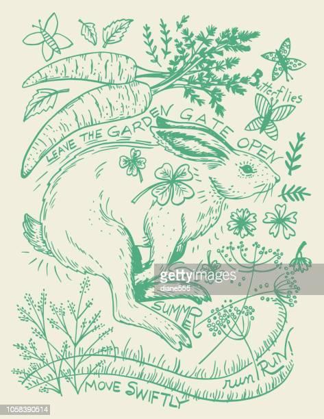 Plantes et lapin dessiné main