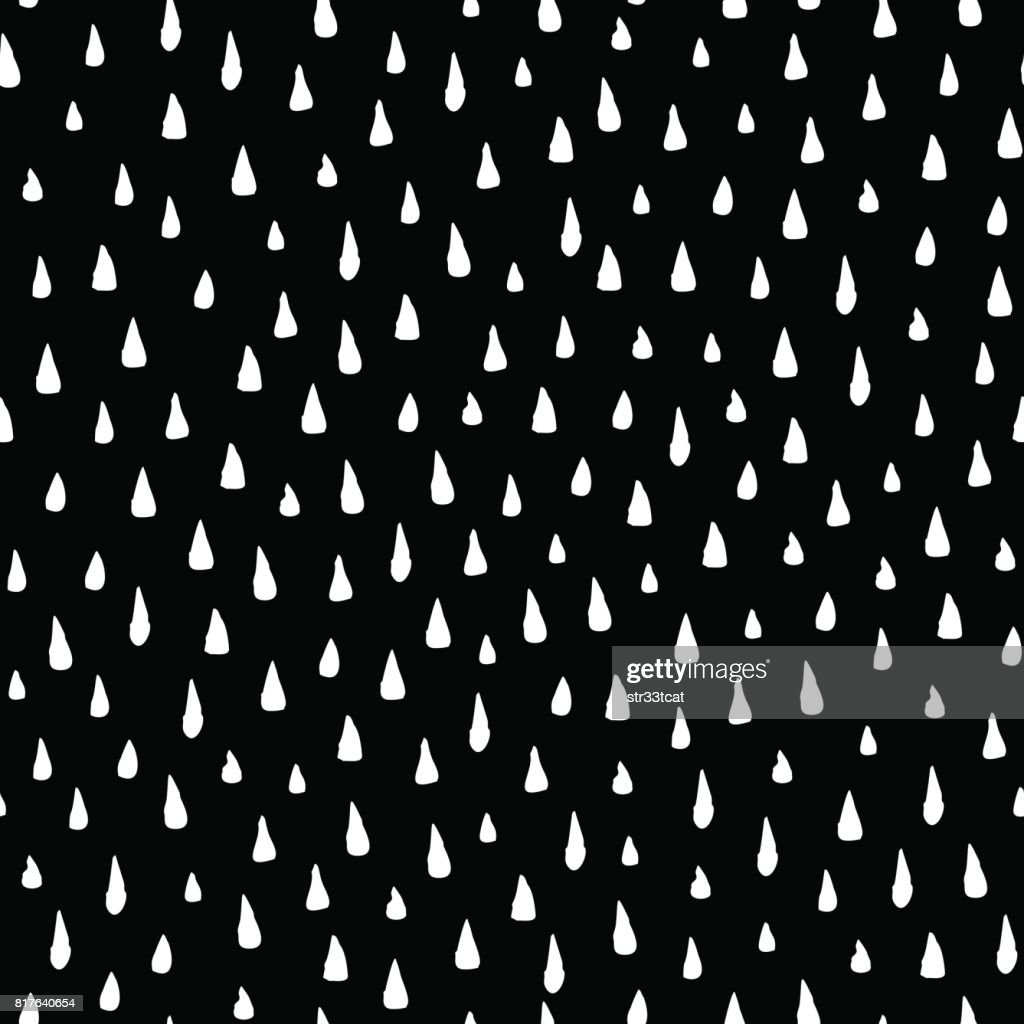 Hand drawn rain drops seamless pattern