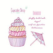 Hand drawn rainbow cupcake with doodle buttercream for pastry shop menu
