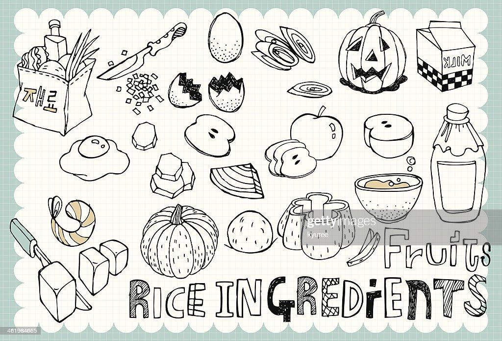 Hand drawn recipe set 05