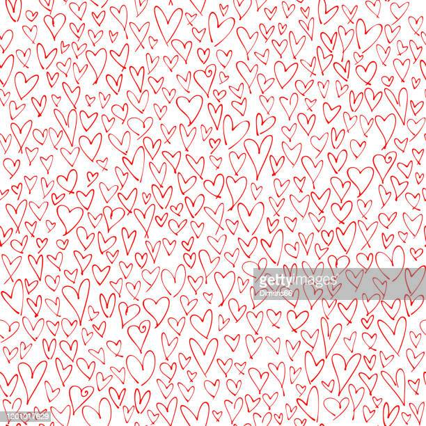hand drawn red hearts seamless pattern. valentine's, mother's day, birthday card, wallpaper or gift wrap design. - mothers day text art stock illustrations