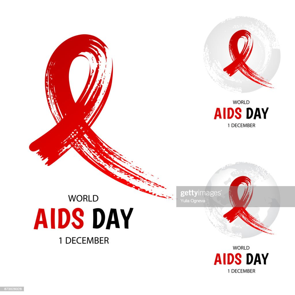Hand drawn red ribbon, world aids day