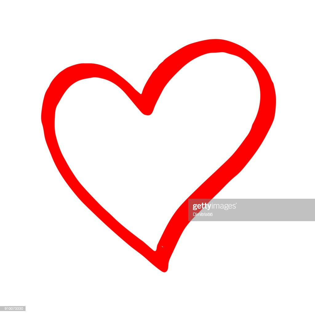 hand drawn red vector heart line art on white background vector art rh gettyimages com heart artery vector heart vector art free