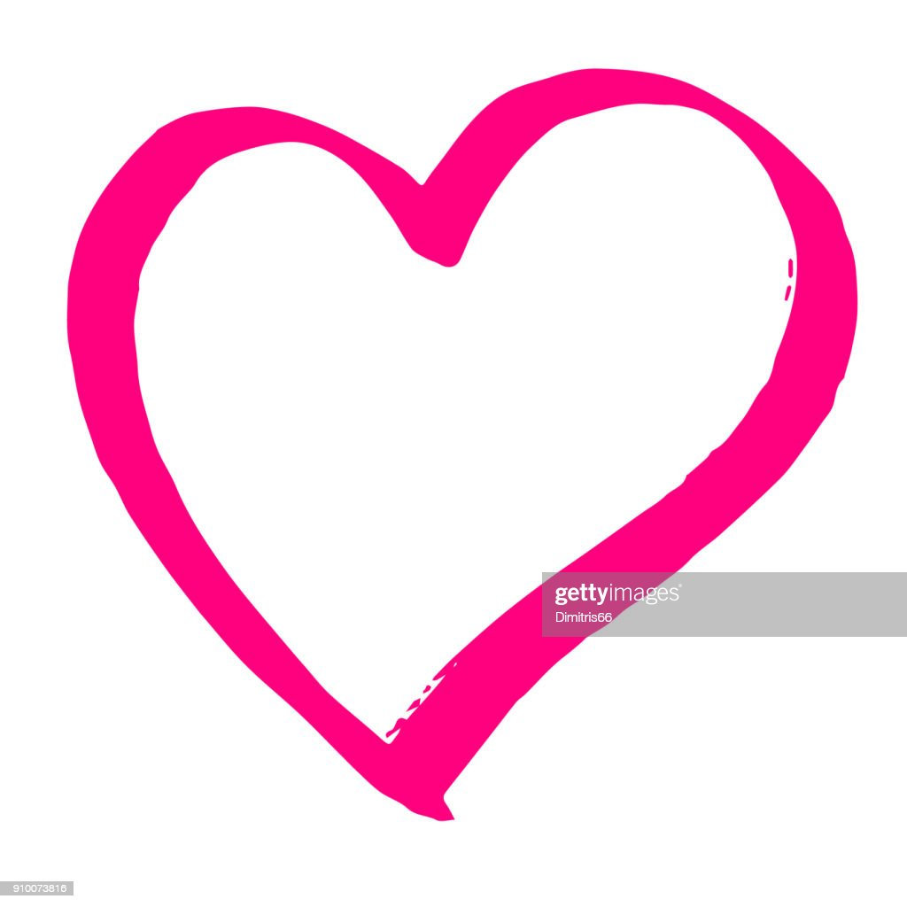 Hand drawn red vector heart line art on white background
