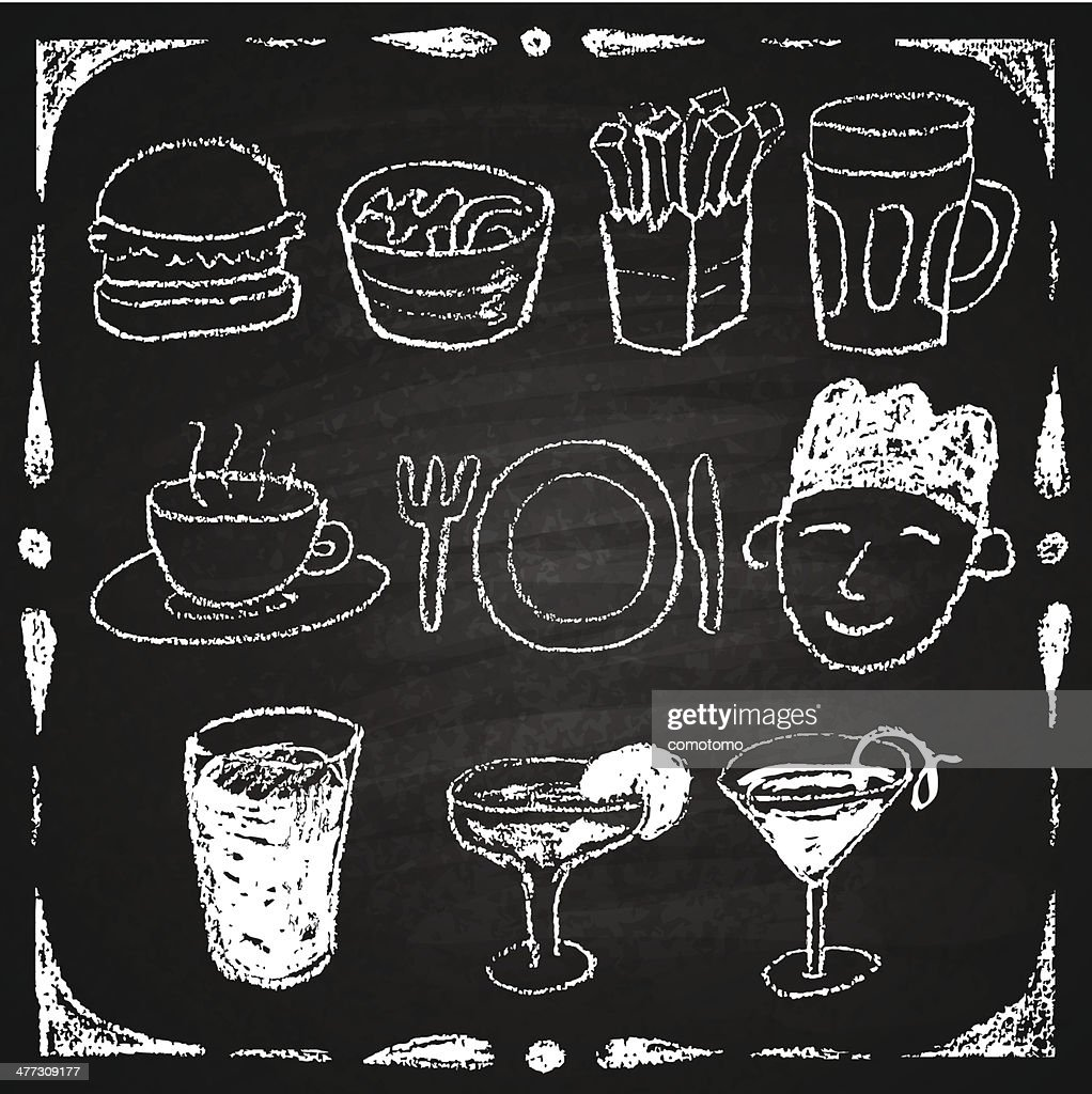 Hand drawn restaurant menu elements.