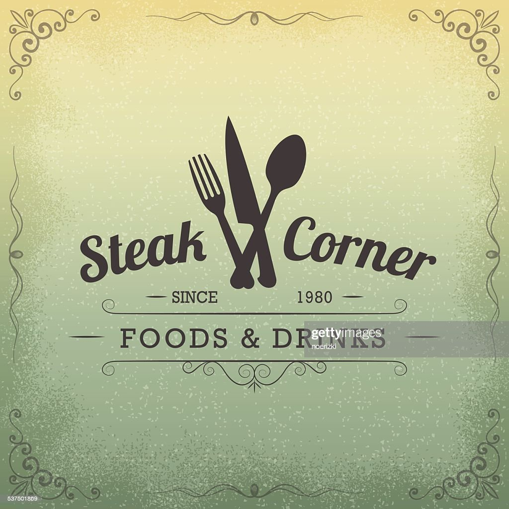 Hand Drawn Restaurant Vintage Label, Design Elements