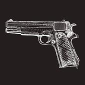Hand drawn retro pistol. Ink sketched.